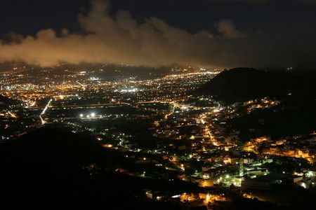 night viuwe to city in mountains at Tenerife Spain