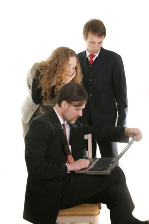 businessman and his assistant and secretary  with loptop PC Stock Photo - 911598