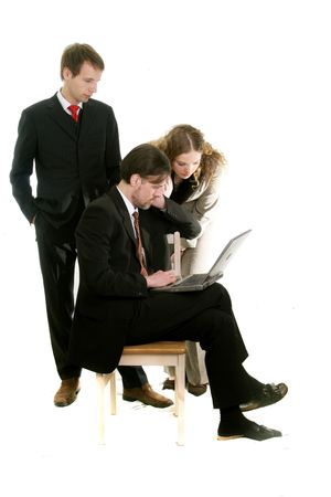 boss and his pretty young  secretary businessman with cell phone and laptop PC isolated on withe