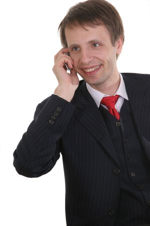 businessman with cell phone and  isolated on withe photo