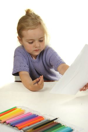education is a game - toddler girl paynting Stock Photo - 1051678