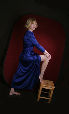 dressups: sexy lady in long blue dress