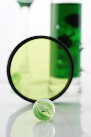 glases: Green ball and glases