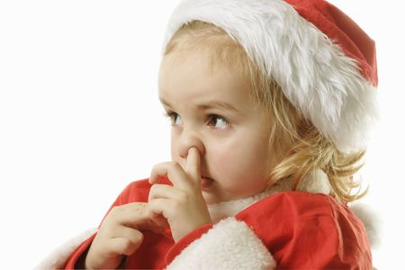 cute litlle elf picking his nose on the white bacground Stock Photo