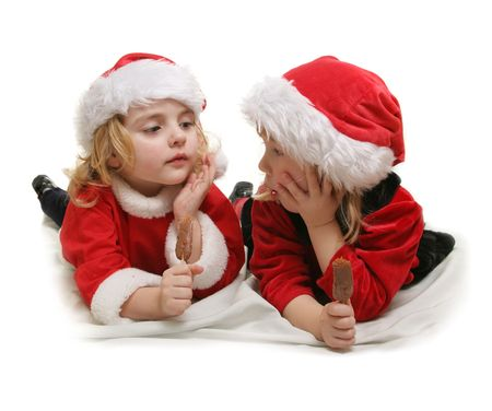 two little santa helpers - ower white Stock Photo - 2093394