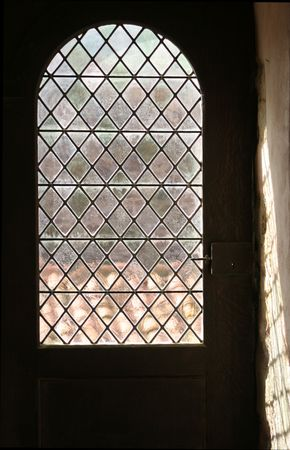 medieval window with mica and glass