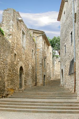 european old medieval street in Gerona