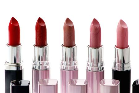 five different lipstick Stock Photo