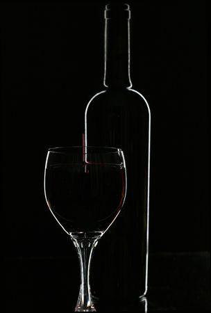 red wine and glasse over black Stock Photo - 2174024