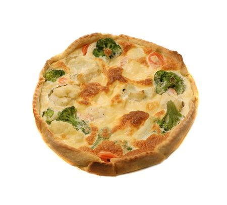 french quiche with broccoli over white