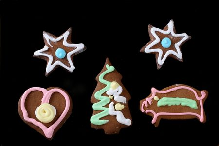 christmas gingerbreads isolated on black Stock Photo - 2262509