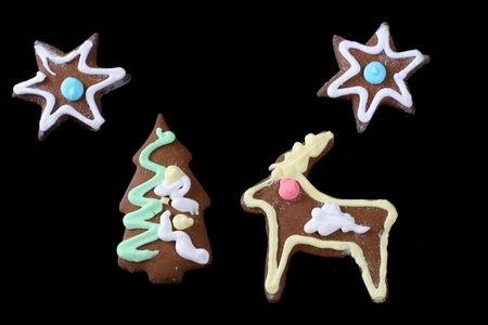 christmas gingerbreads isolated on black Stock Photo - 2262503