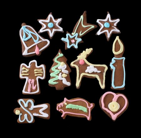 christmas gingerbreads isolated on black Stock Photo - 2262508