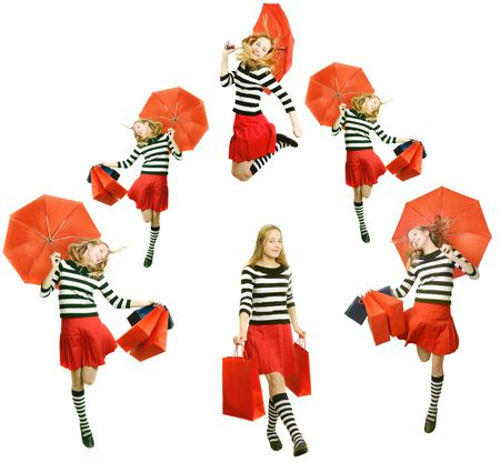 happy teenager girls  with red umbrella,  jumping and shopping