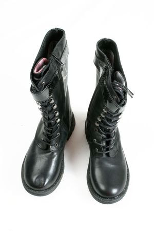 army boots: black army boots over white