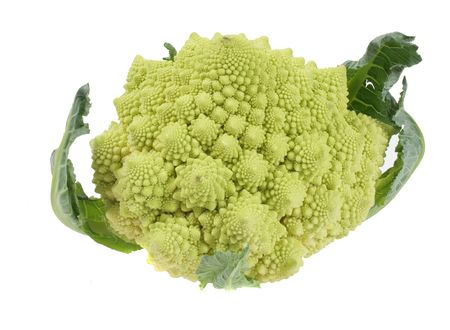 green romanesco cauliflower over white with path