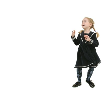 funy: copy spase with toddler girl over white happy girl with funy braids   Stock Photo