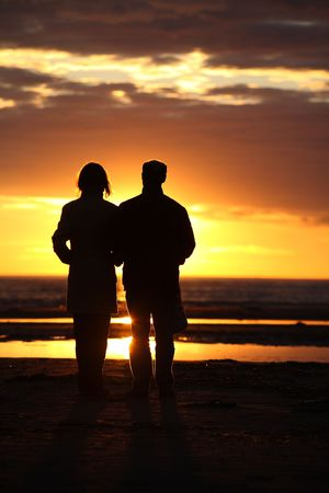 couple looking to suneshine Stock Photo