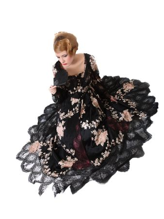 dressups: pretty young lady  in old time ball dress with black fanr