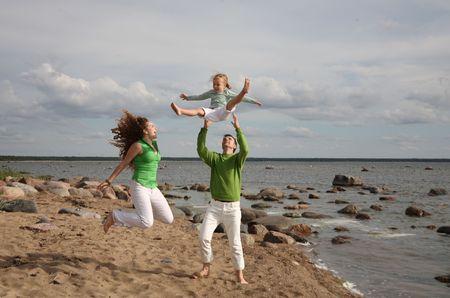 whithe: vacaciones en familia - la libertad cerca del mar  Foto de archivo