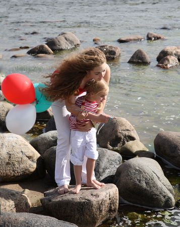 two different age sisters near the sea Stock Photo - 3318424
