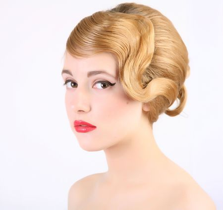 girl with old style coiffure