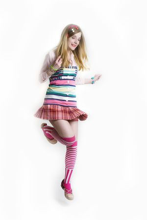 cosplay: Jumping girl in collorfull deess Stock Photo