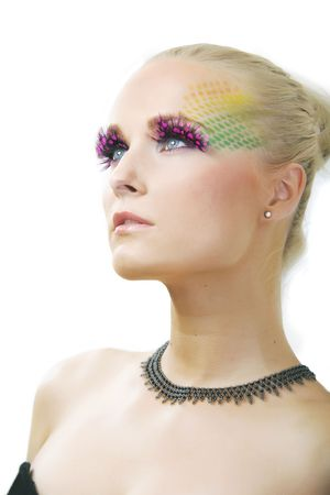 pretty girl with unusual make up -studio shot photo