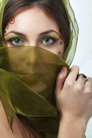 green eyes  girl with profesional make-up - studio shot Stock Photo