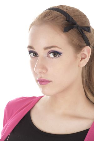 profesional: pretty teenager girl with profesional make-up looking to the photographer