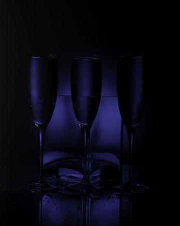 champain: dark blue glases studio shot
