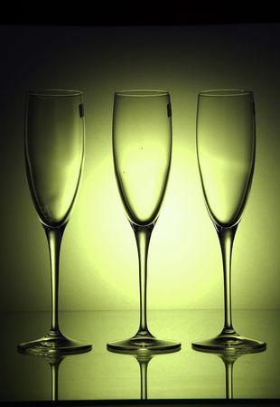 champain: dark green glases studio shot