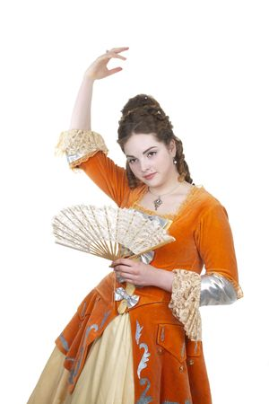 dance in baroque dress - isolated studio shot over whit photo