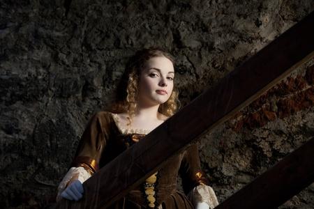 vestido medieval: Retrato del Renacimiento Foto de archivo