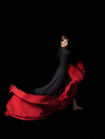 flamenco dress: Dance with a red Stock Photo