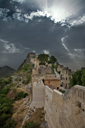 Castle of Xativa in Spayn in unusual suny day photo