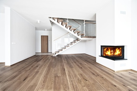 empty bright room with wood flore and fire place