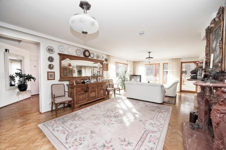 livingroom brown and white diningroom , kitchen and livingroom Stock Photo