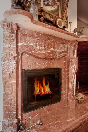 stove fire: Beautiful stove fire place with burning tree inside