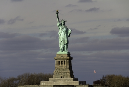 Statue of Liberty - New York City, United States, cloudy winter day photo