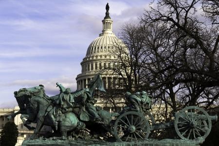 cavalry: Civil War Statue on Capitol Building background, Washington, DC, USA. Editorial