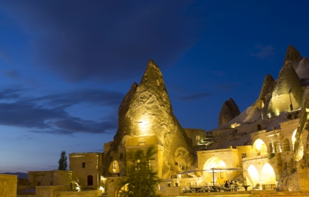 unusual angle: Cappadocia cave houses at night, Turkey Stock Photo