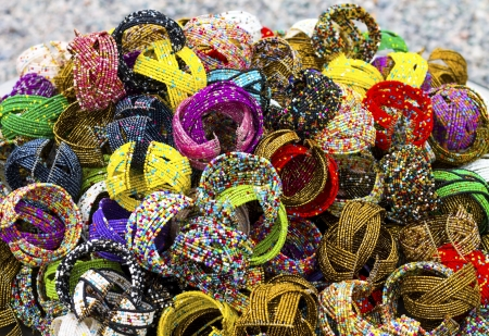 a group of wristband made of beads. photo