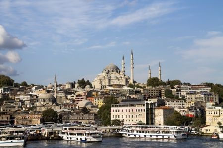 Golden horn and Suleymaniye Mosque, Istanbul. photo