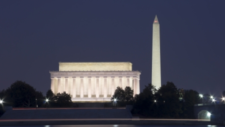 The Lincoln Memorial, and Washington Monument at night, Washington, DC, the United States