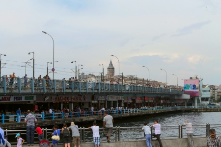 ISTANBUL - AUG 12: View of Istanbul and Galata bridge and tower on August 12, 2012 in Istanbul, Turkey.