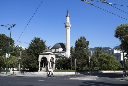 saraybosna: SARAJEVO - AUG 21:Ali Pasha Mosque, It was completed in 1561 after plans of Hadim Ali Pasha , August 21, 2012 in Sarajevo, Bosnia and Herzegovina. Editorial