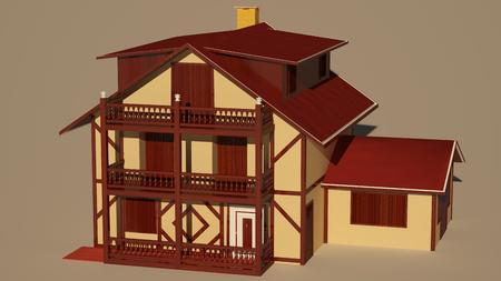 villas: model of a house with a front view