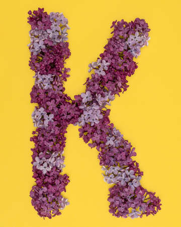 The letter K is lined with lilac flowers on a yellow background. For lettering, composing words.