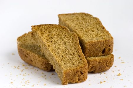 intentionally: pieces of bread, russian black bread. crumbs are left intentionally, to remove them not difficultly.